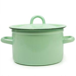 Green Enameled-Steel Stock Pot with Lid. Durable Enamelware Pots from Ukraine