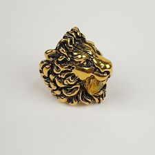 Gucci Antique Gold Lion Head Ring with Large Yellow Gem IT 10 / US 5 402763 8083