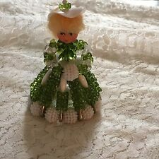 Vintage Safety Pin Beaded Girl Figurine Vintage Green and white dress w/muff