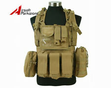 1000D Tactical Military Combat Molle Eagle RRV Vest with Magazine Mag Pouch Tan