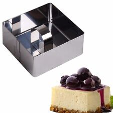 6x STAINLESS STEEL ROSTI FOOD RINGS Square Cake Presentation Cooking Chef Mould