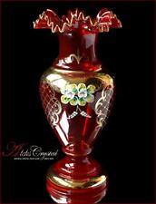 """Bohemian Glass Flower Vase 31 cm, """"Jasmine"""" Red, New!"""