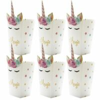 6pcs Mini Popcorn Boxes Unicorn Baby Shower Paper Bags Birthday Party Supplies