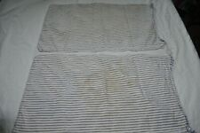 "2 VINTAGE  BLUE TICKING STRIPE  PILLOW COVER  FABRIC 25"" X 14.5"" euc"