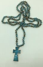 Long Knotted Tribal Glass Crystal Stone Cross Pendant Necklace Woman Jewelry