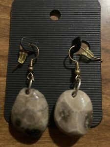 Handcrafted and Handpolished Petoskey Stone Earrings