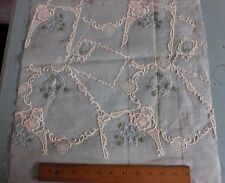 Vintage Swiss Hand Loomed Cotton Voile Embroidery Sample Fabric c1940-50s