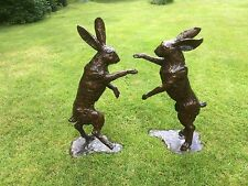 Bronze Boxing Hares Pair of Bronze Life Size Boxing Hares Hot Cast Bronze Hare