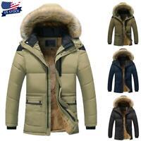Men Fur Lined Hooded Jacket Coat Winter Warm Zipper Quilted Padded Parka Outwear