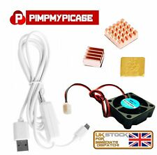 5v Fan Premium Copper Heatsinks White USB On/Off Power for Raspberry Pi 3