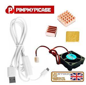 5v Fan Premium Copper Heatsinks White USB On/Off Power for Raspberry Pi 3