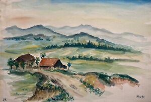 Rupprecht von Vegesack 1917 - 1976 Landschaft mit Bauernhof in Sachsen bei Pirna