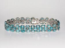 925 Silber Armband, Weißgold beschichtet Echter Sea Foam Blau Kambodscha Zirkon