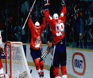 1987 Canada Cup Gretzky Lemieux Goal Celebration vs CCCP  Color 8 X 10 Photo Pic