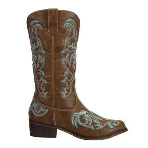 On Sale SheSole Womens Vintage Western Cowgirl Cowboy Boots Brown AU Size 5-11