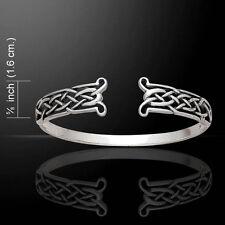 Celtic Knot .925 Sterling Silver Open Bangle Bracelet by Peter Stone