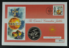 St Helena 2003 50p Implements Anniversary of Accession Coin Stamp Cover FDC