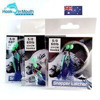 3 Flathead Flasher Fishing Rigs - Blue - Paternoster - 60lb - 5/0 Circle Hooks
