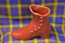 Vintage ?Shawnee Maroon 6 Button High Boot Pottery Planter