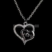 Doppel Krsitall  Herz Anhänger Halskette Silberkette Mama Müttertag Geschenk