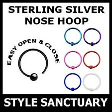 Sterling Silver Easy Fit Nose Ring Hoop 0.6mm 22g Stud Screw Bone Bar Open Ball