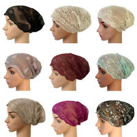 New Women Lace Ruffle Cancer Chemo Hat Beanie Scarf Turban Head Wrap Cap