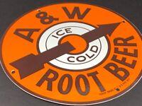 """VINTAGE A&W ROOT BEER PORCELAIN SIGN 12"""" METAL A&W SODA POP GASOLINE & OIL SIGN"""