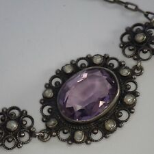 ANTIQUE VICTORIAN EDWARDIAN STERLING SILVER GENUINE AMETHYST PEARL NECKLACE
