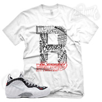 """B BLESSED"" Sneaker T Shirt for Nike Foamposite Pro White Black Red Pearl"