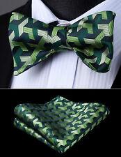 Mens Silk Party Wedding Green Geometric Self Bow Tie Pocket Square Set#BG804GS