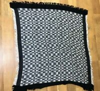 "ECHO Vintage Rayon Black & White ""Checks"" Square ~ 35x35"