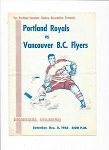 Portland Royals vs. Vancouver B. C. Flyers 4 Page Program EX Condition