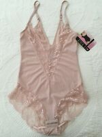 FIT Pink Lace Bodysuit Womens Sz M Light Control Sling Support Tummy Waist NWT