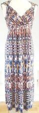 M&S Per Una Women's Blue Yellow Dress Size 14 Maxi Tie Dye V-Neck Wedding VGC