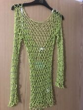 Missguided Glittery Green Crotchet Beach Cover Up Dress Size S