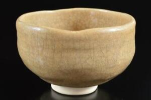 #5756: Japanese Raku-ware White glaze TEA BOWL Green tea tool Tea Ceremony
