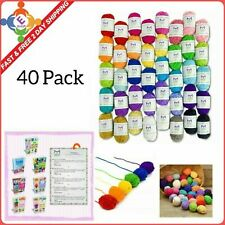 40 Mixed Yarn Lot Skeins Assorted Colors Huge Lot Acrylic Wool Balls USA FREE