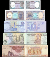 Set of 5Pcs Egypt 5+10+25+50 Piastres + 1 Pound Africa Paper Money Uncirculated