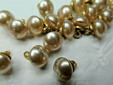 CHANEL 💯 ❤️ 6 CHAMPAGNE PEARL BUTTONS 10MM SMALL, LIGHT C H A N E L  ❤️💯 LOT 6
