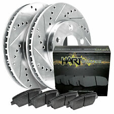 For 1985-1997 Nissan 720, D21, Pickup Front HartBrakes Brake Rotors+Ceramic Pads