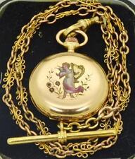 WOW! Antique 18k gold,enamel&diamonds LeCoultre caliber watch&gold chain.Ottoman