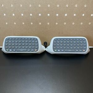 (2)Official Genuine Microsoft Xbox 360 White Controller Chatpad Keypad Keyboard