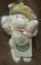 """Boyds bears white  6"""" bunny in tan hat"""