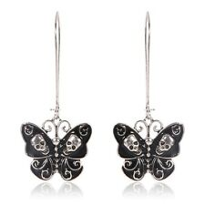 Women Retro Punk Gothic Fashion Jewelry Butterfly Skull Dangle Long Earrings