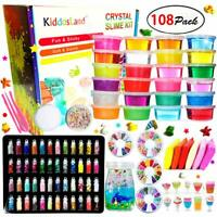 24 colors, DIY Crystal Slime Kit – Slime kits for Girls Boys Toys with 48 Glitte
