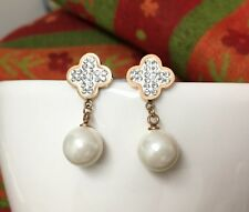 18KGP Rose Gold Stainless Steel CZ White Pearl Clover Drop Earrings