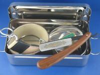 Weihnachtsgeschenk Rasier Box mit Rasiermesser Set Streichriemen Solingen Paste
