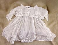 Antique Lace Gown Baptism Baby Dolls Clothes Raised Work PRINCESS LACE