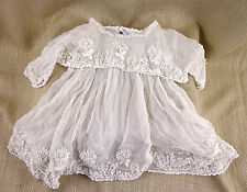 Antique PRINCESS LACE Baby Dress Christening Gown Victorian Raised Work Childs
