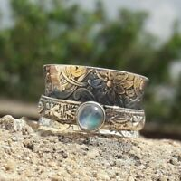 Solid 925 Sterling Silver Band Spinner Ring Jewelry Moonstone All Size DO-213